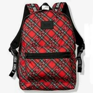NWT VS Pink Campus Backpack bookbag Plaid red.